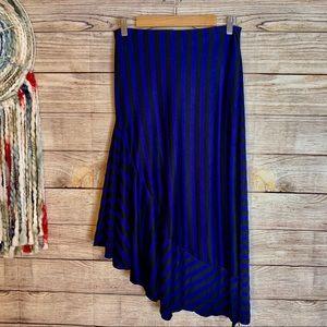 Zara Trafaluc Striped Asymmetrical Midi Skirt